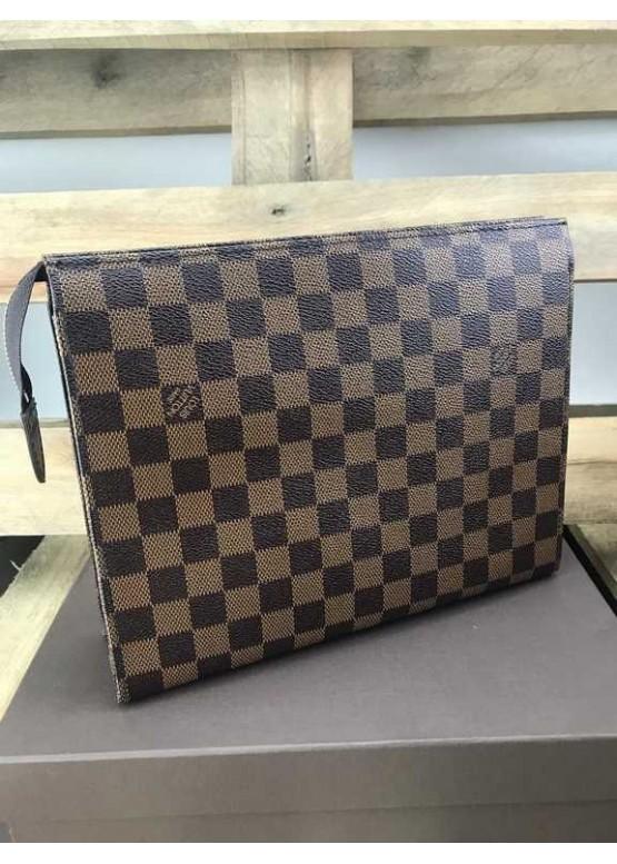Косметичка Louis Vuitton шашечки коричневая