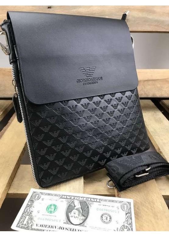 Сумка планшетка на плечо Armani черного цвета