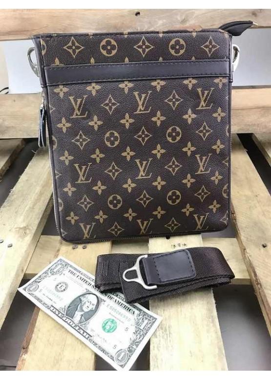 Сумка планшетка на плечо Louis Vuitton коричневого цвета через плечо