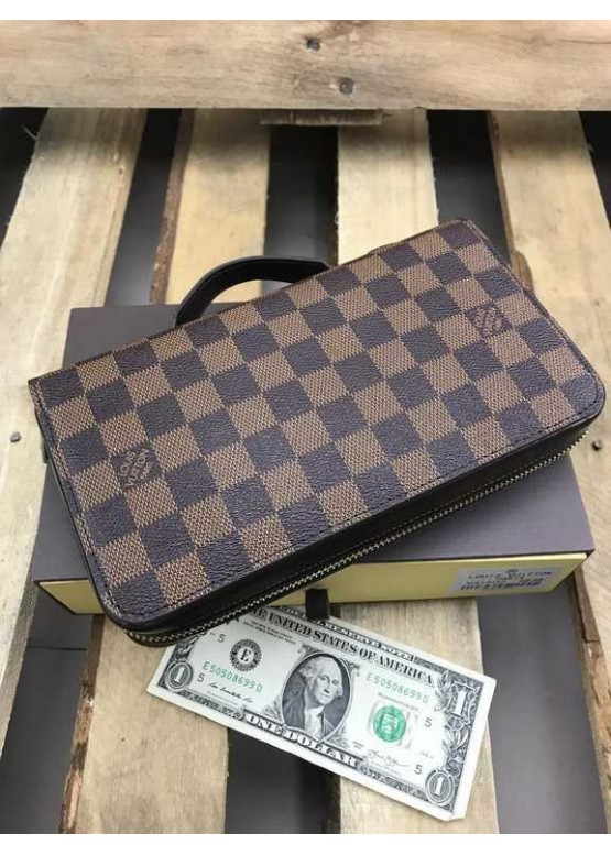 Бумажник Louis Vuitton Zippy XL шашечки коричневый