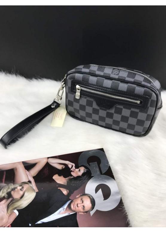 Косметичка Louis Vuitton серая с ручкой